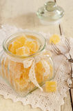 Homemade citrus jelly bars in glass jar Stock Photography