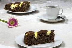 Homemade cocoa cake with cream cheess Stock Photos