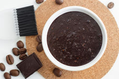 Homemade cocoa dark chocolate and ground coffee mask or scrub. Stock Photos