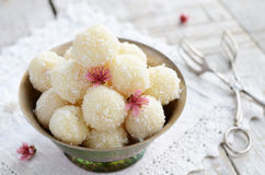 Homemade coconut bites in metal bowl Stock Image