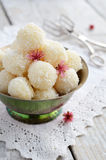 Homemade coconut bites in metal bowl Royalty Free Stock Image
