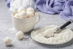 Homemade coconut candies stock photography