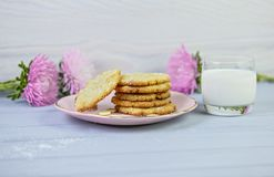 Homemade coconut cookies on pink plate, just from the oven, on a wooden gray background, with glass of milk and flowers