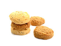 Homemade coconut cookies on white background. Coconut cookies on white background stock image