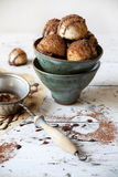 Homemade coconut macaroons with dripped dark chocolate and cocoa powder on bowl Stock Image