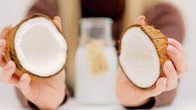 Homemade coconut milk recipe organic fruit drink. Homemade coconut milk recipe. Organic healthy vitamin fruit drink stock video