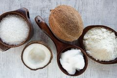 Homemade coconut products stock image