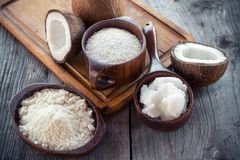 Homemade coconut products stock photo