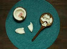 Homemade coconut products on wooden table background. Copy space, n royalty free stock photos