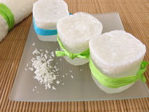 Homemade coconut soap Stock Photos