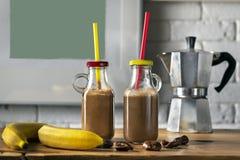 Homemade coffee banana smoothies stock image