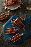 Homemade Cold Chocolate Fudge Popsicles Royalty Free Stock Photo