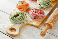 Homemade color pasta on board Stock Photo