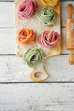 Homemade color pasta on board Royalty Free Stock Photo