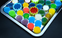 Homemade colorful cup jelly Stock Image