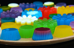 Homemade colorful cup jelly Royalty Free Stock Photo