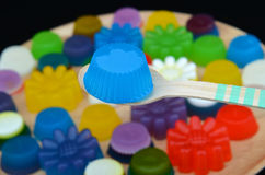 Homemade colorful cup jelly Stock Images