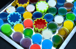 Homemade colorful cup jelly Royalty Free Stock Photos