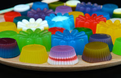Homemade colorful cup jelly Royalty Free Stock Images