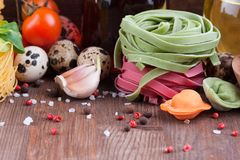Homemade colorful Italian noodles Stock Images
