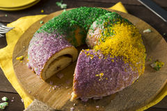 Homemade Colorful Mardi Gras King Cake. For Fat Tuesday stock photo