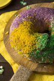 Homemade Colorful Mardi Gras King Cake Royalty Free Stock Photo