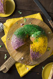 Homemade Colorful Mardi Gras King Cake Royalty Free Stock Photography