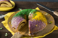 Homemade Colorful Mardi Gras King Cake Royalty Free Stock Images