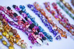 Homemade colorful necklaces Stock Photography
