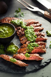 Homemade Cooked Skirt Steak with Chimichurri Royalty Free Stock Images