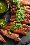Homemade Cooked Skirt Steak with Chimichurri Royalty Free Stock Photo