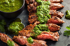 Homemade Cooked Skirt Steak with Chimichurri Stock Photography