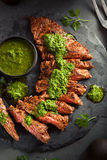 Homemade Cooked Skirt Steak with Chimichurri Royalty Free Stock Photography