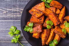 Homemade Cooked Sweet Potato with spices and herbs. stock images
