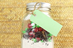 Homemade cookie dough canning gifts jar with blank tag with space for text. For love christmas valentine romantic thankyou related message work stock photos