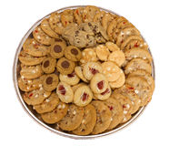Homemade Cookie tray assortment isolated Stock Photos