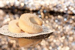 Homemade cookies. On sparkly background Royalty Free Stock Photos