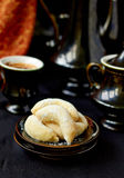 Homemade cookies. With powdered sugar and coffee Royalty Free Stock Image