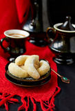Homemade cookies. With powdered sugar and coffee Royalty Free Stock Photos