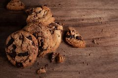 Homemade cookies. American chocolate chip cookies on rustic woo stock images