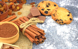 Homemade cookies with chocolate crumbs and spices. Close-up. Stock Image