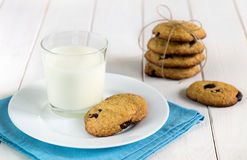 Homemade cookies with chocolate and glass of milk on the table. stock images
