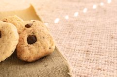 Homemade cookies with chocolate are the window. Homemade cookies with chocolate are a hundful of the window Stock Photo