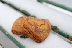 Homemade cookies. With cinnamon in the snow Stock Photos
