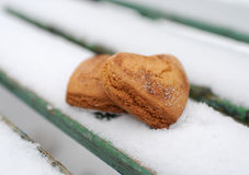 Homemade cookies. With cinnamon in the snow Stock Photo