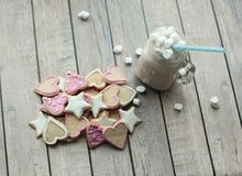 Homemade cookies and cocoa with marshmallow Stock Photos