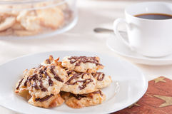 Homemade cookies and coffee. On white plate Royalty Free Stock Image