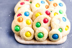 Homemade cookies with colorful chocolate candies Royalty Free Stock Image