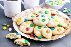 Homemade cookies with colorful chocolate candies Royalty Free Stock Photography
