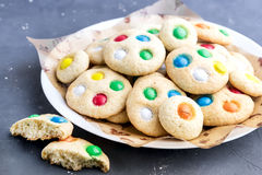 Homemade cookies with colorful chocolate candies Royalty Free Stock Photo